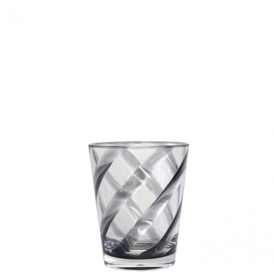 Bicchiere metacrilato trasp. spirale nero d9 h11 cm