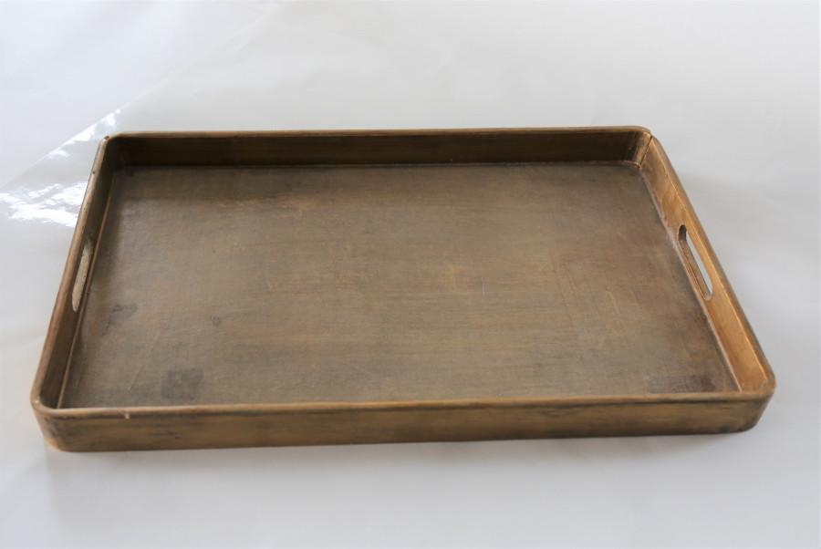 Vassoio in legno rettangolare dorato 29 x 45 cm