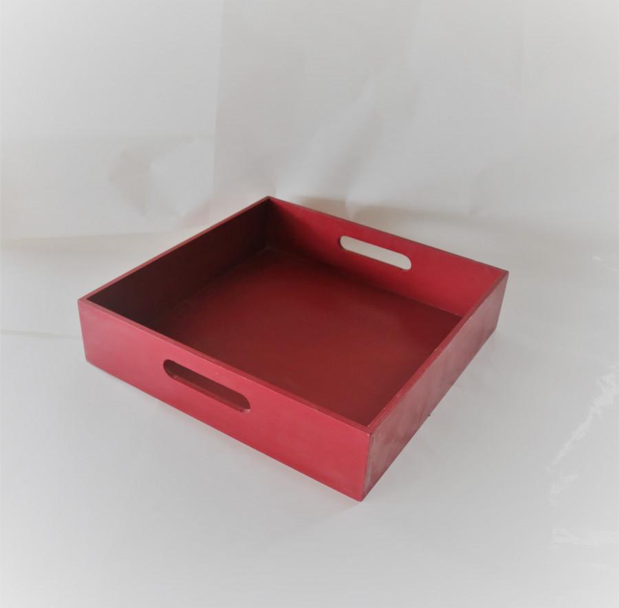 Vassoio quadrato in legno rosso scuro 40 x 40 h9 cm