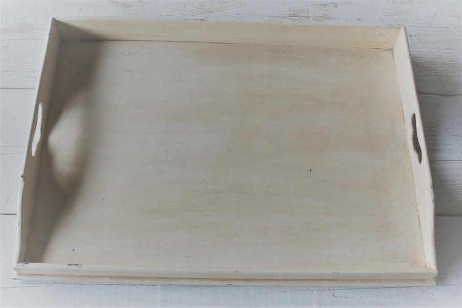 Vassoio butler in legno panna 65 x 46 h7 cm