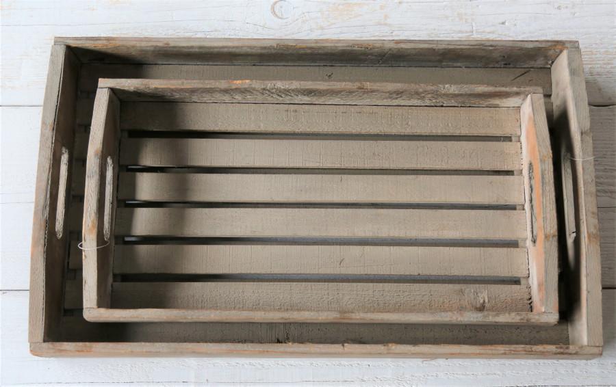 Set 2 plateaux en bois et lattes 65x39x8 cm