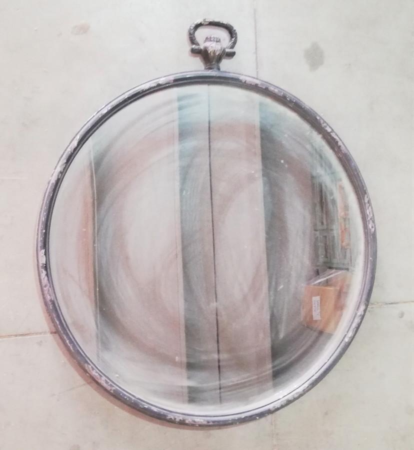 Specchio metallo scuro modello orologio a cipolla d74 cm