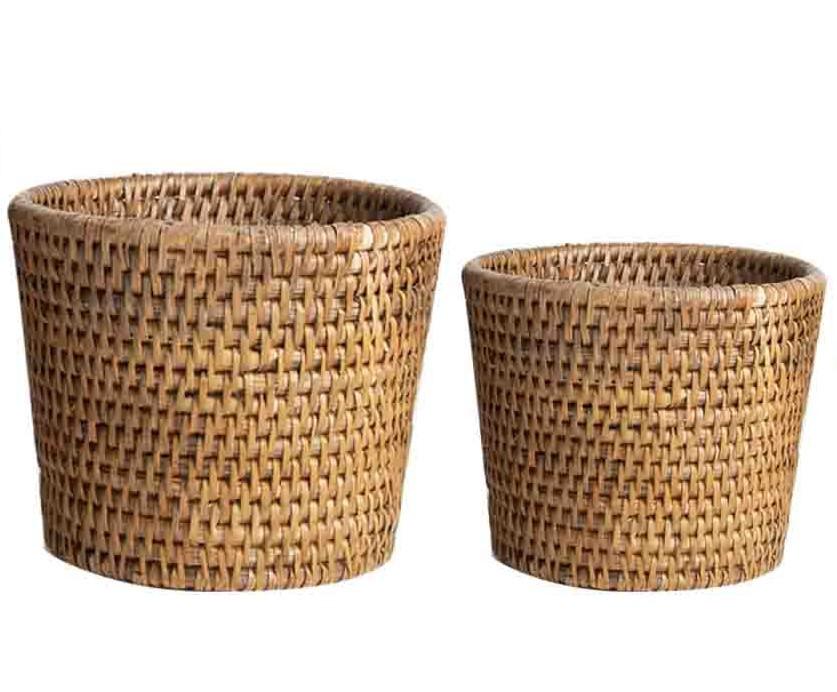 Set of 2 wicker cachepots h13-h12