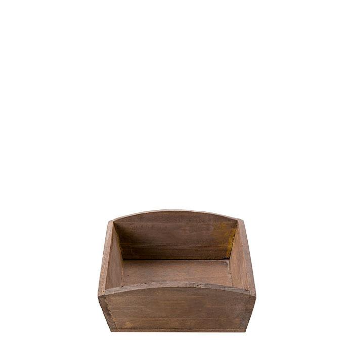 Vassoio vintage in legno scuro 15 x 15 h5.8 cm