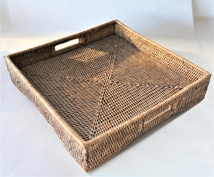 Vassoio vintage quadrato midollino con manici 40 x 40 cm