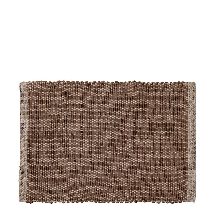 100% linen placemat with twined brown stripes 52 x 34 cm