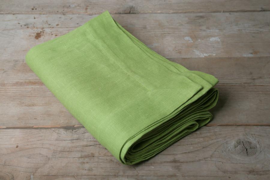 Tovaglia 100% lino verde con bordo di 7 cm 160 x 250 cm