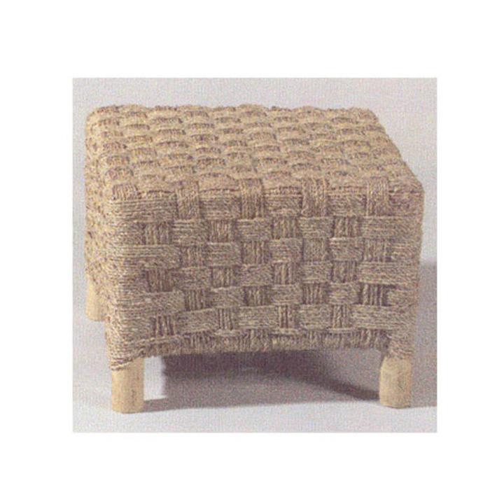 Sgabello cubo vintage in corda intrecciata 40 x 40 h30 cm