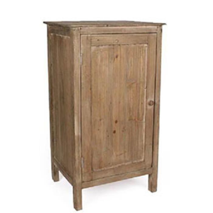 Comodino vintage legno naturale 1 anta 1 mensola 45 x 38 h80 cm