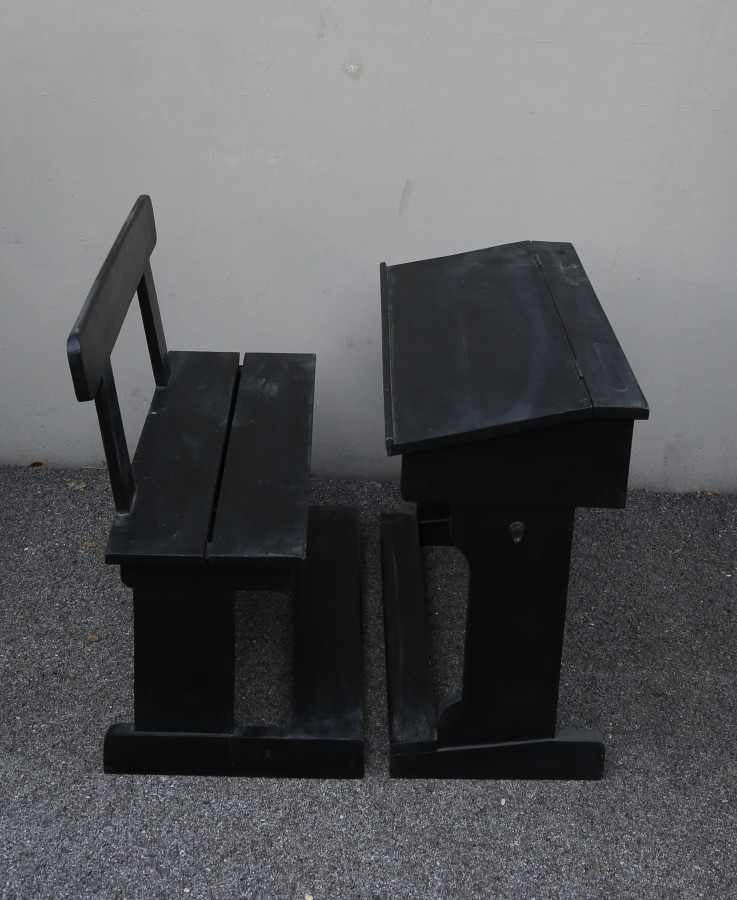 Banco con panca scuola vintage legno scuro 80 cm