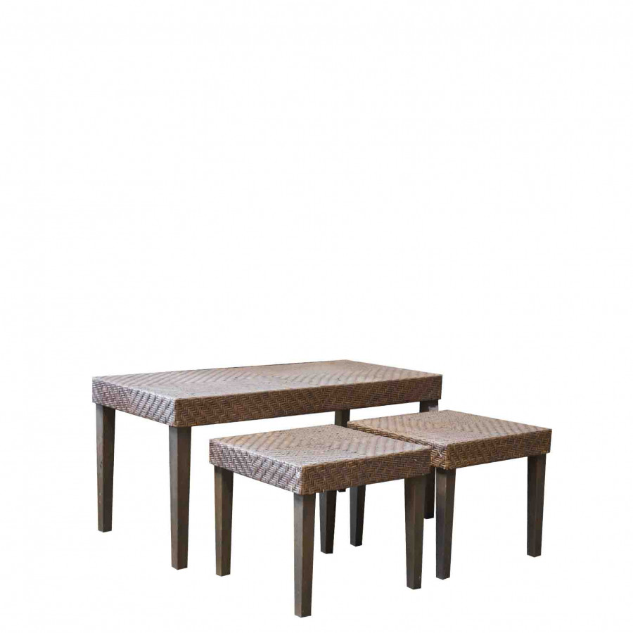Set 3 tavolini rattan intreccio vintage h48 h38