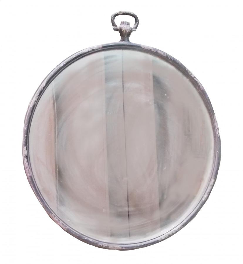 Specchio vintage metallo scuro orologio a cipolla d74 cm