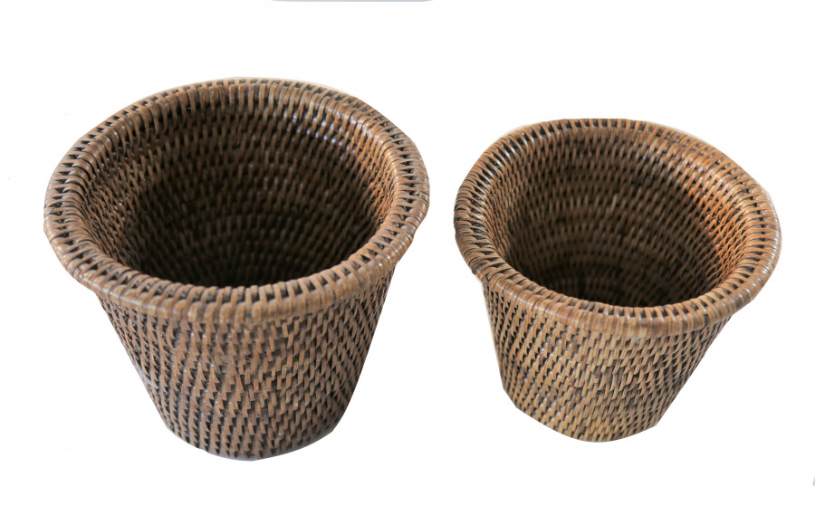 Set of 2 wicker cachepots with edge h13-h14