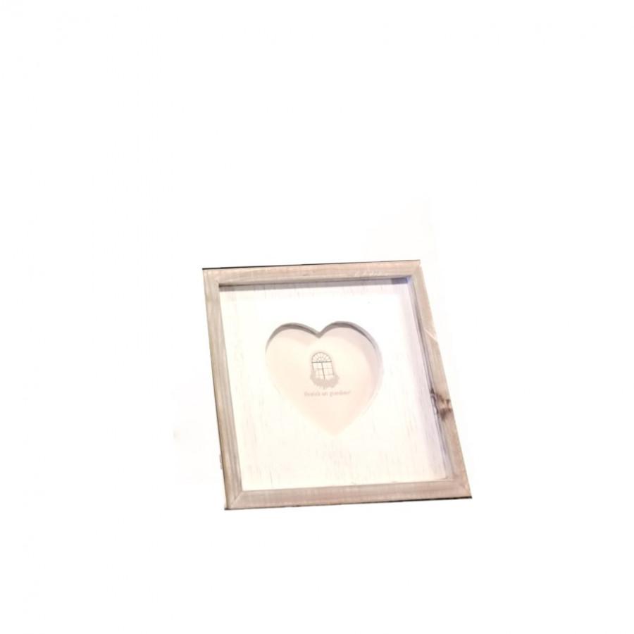 Cornice shabby in legno scuro sagoma cuore bianco 23 x 23 h2.5 cm