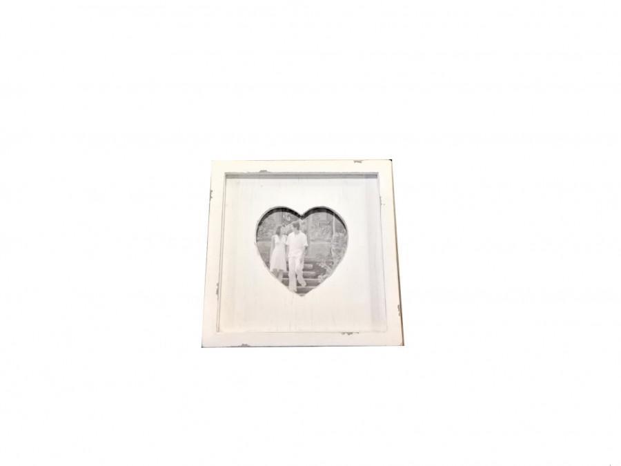 Cornice shabby in legno bianco sagoma cuore 23 x 23 h2.5 cm
