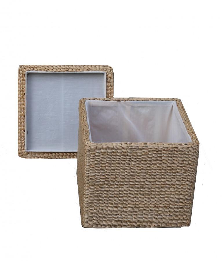 Contenitore cesto cubo con tappo fodera bianca 40 x 40 h40 cm