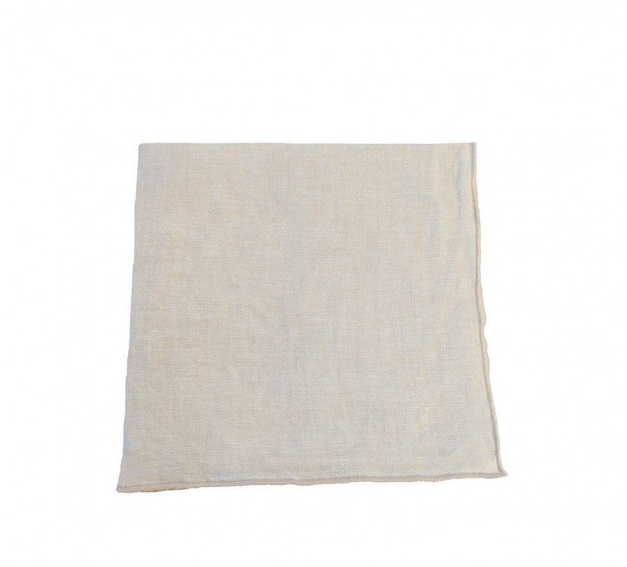 100% linen cream napkin with noisette border 40x40 cm