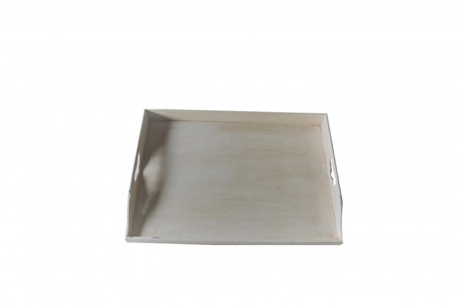 Vassoio butler in legno panna vintage 65 x 46 h7 cm