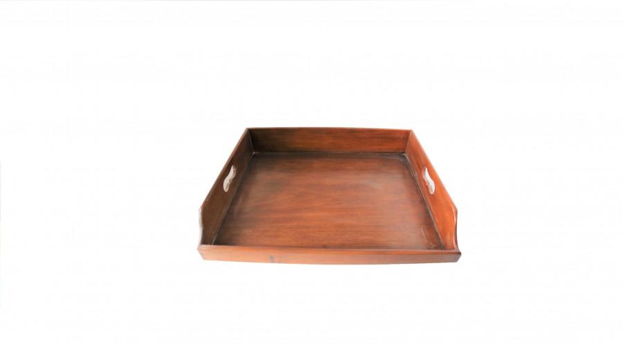 Vassoio vintage butler in legno marrone 65 x 46 h7 cm