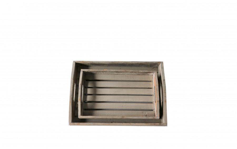 Set 2 vassoi legno listelli 65 x 39 h8 cm