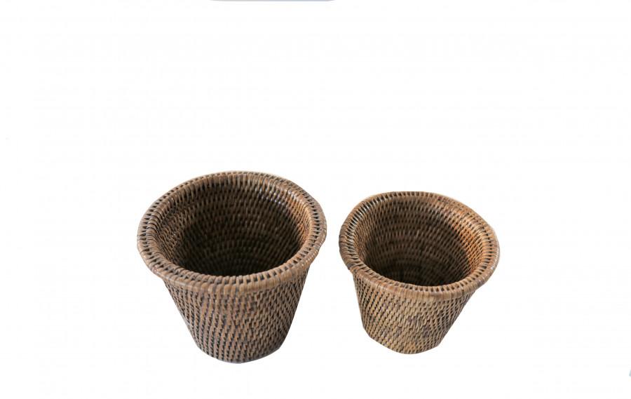 Set 2 cache-pot midollino con bordo h13-h14