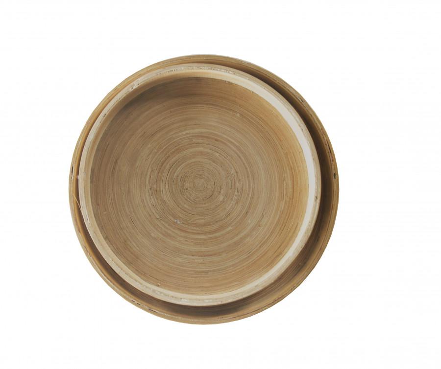 Serie 2 vassoi in legno naturale tondi d30/d35 h3.5 cm
