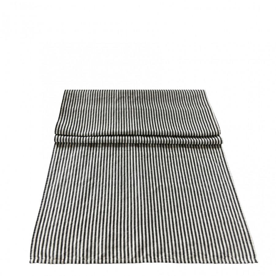Chemin de table lin/coton avec rayures blanches et noires 50 x 160 cm