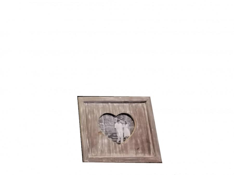Cornice shabby in legno sagoma cuore 23 x 23 h2.5 cm