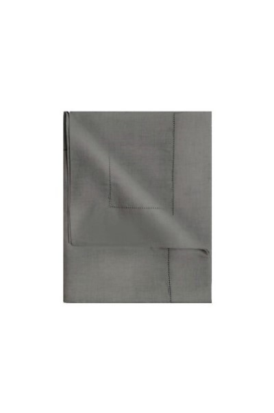 Tovaglia lino/cotone orlo a giorno olive grey 270 x 160 cm