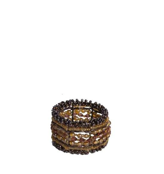 Portatovagliolo perline chocolate d.4 cm