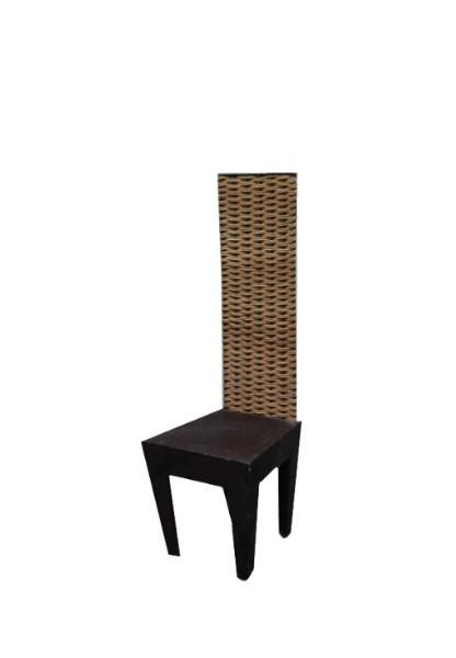 Sedia ferro/legno schienale intreccio midollino 42 x 45 h136 cm