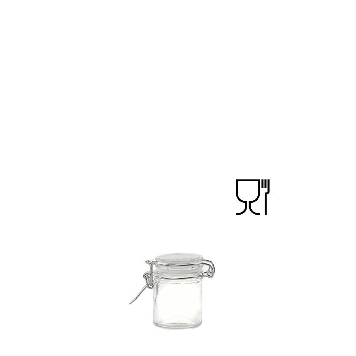 Barattolo cilindrico mini mini in vetro con clip v50 ml d4.5 h6.5 cm