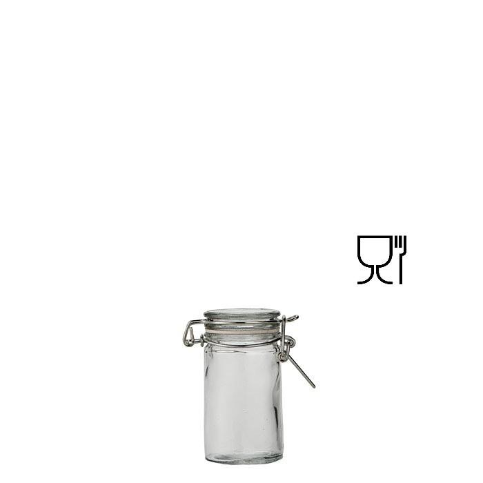 Barattolo cilindrico mini in vetro con clip v70 ml d4.4 h8 cm