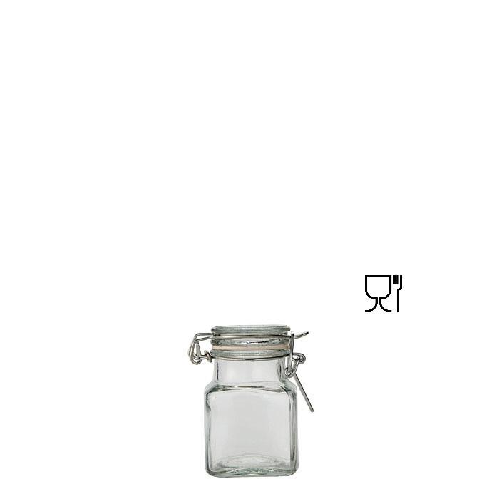 Barattolo quadrato mini in vetro con clip  v55ml 4 x 4 h8 cm