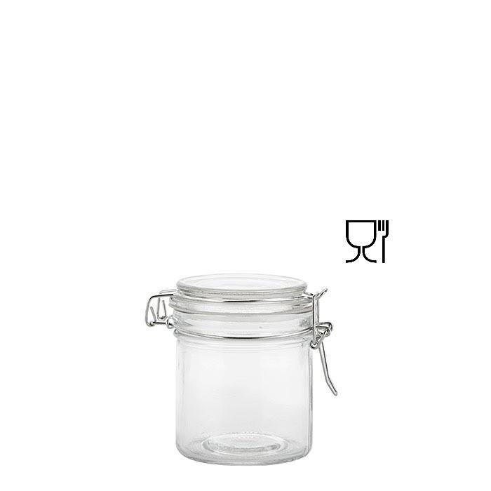 Barattolo cilindrico in vetro con clip v250 ml d9.5 h7.5 cm