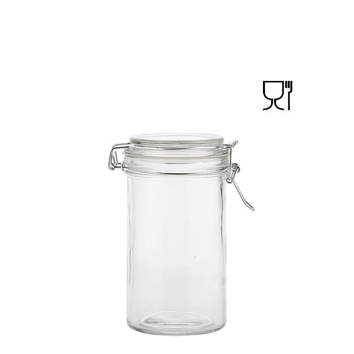 Barattolo cilindrico in vetro con clip v420 ml d7.8 h15 cm