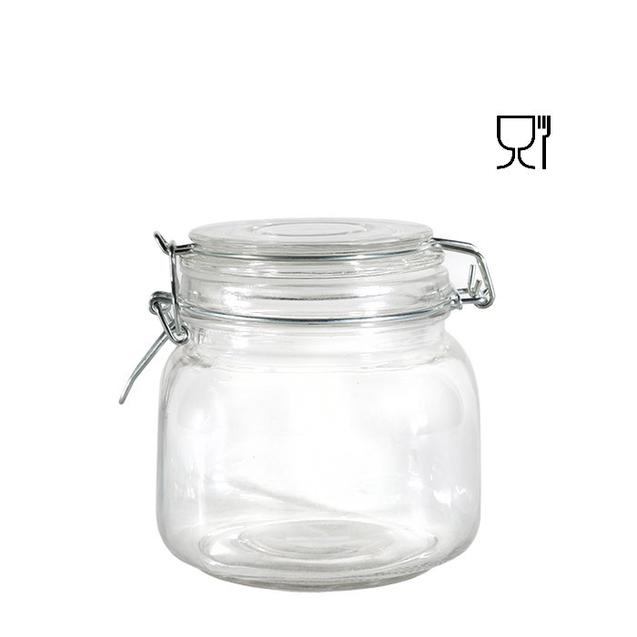 Barattolo in vetro con clip  v750ml 11 x 11 h12 cm
