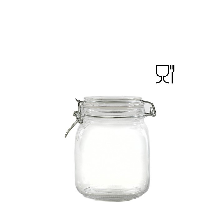 Barattolo in vetro con clip  v1000ml 11 x 11 h15 cm
