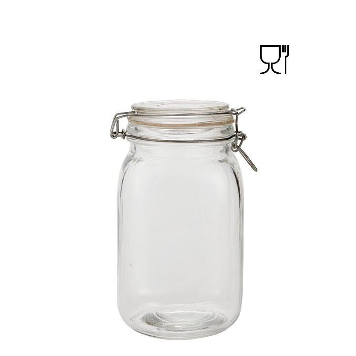 Barattolo in vetro con clip  v1500ml 11 x 11 h19.5 cm