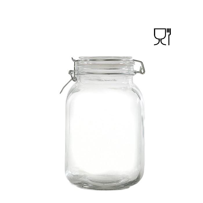 Barattolo in vetro con clip  v1750ml 13 x 13 h21 cm