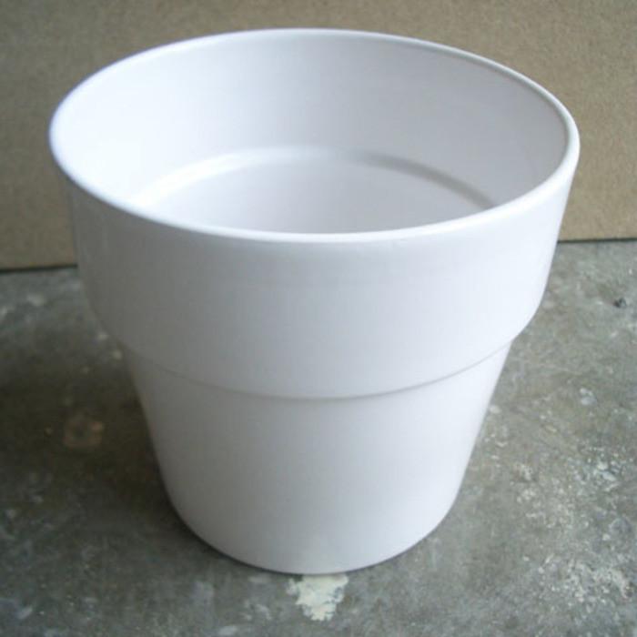 Cache-pot in ceramica colore bianco h17.4 cm
