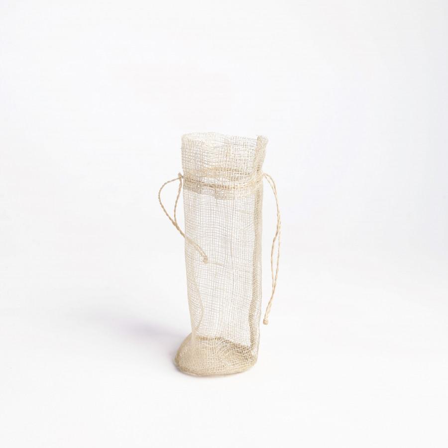 Petit sac en abaca creme d6 h13 cm