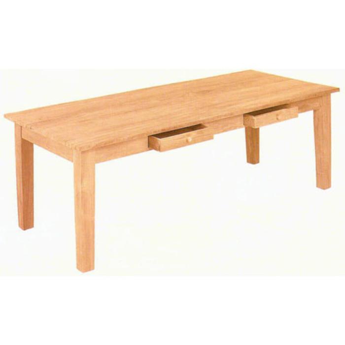 Table en bois teak avec 2 tiroirs 180x90x75 cm