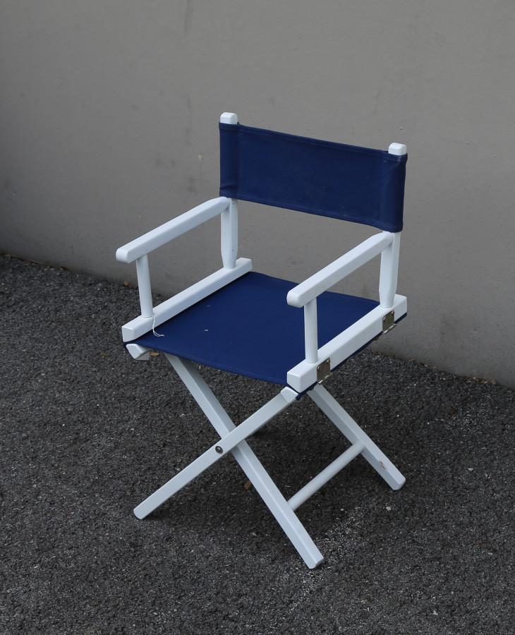 Sedia baby regista legno bianco con tela blu 35 x 35 h61 cm