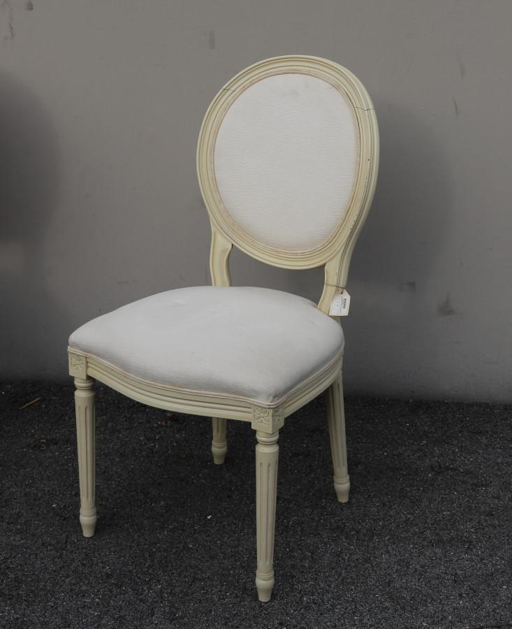 Sedia vintage luigi xvi schienale tondo panna 40 x 42 h95 cm