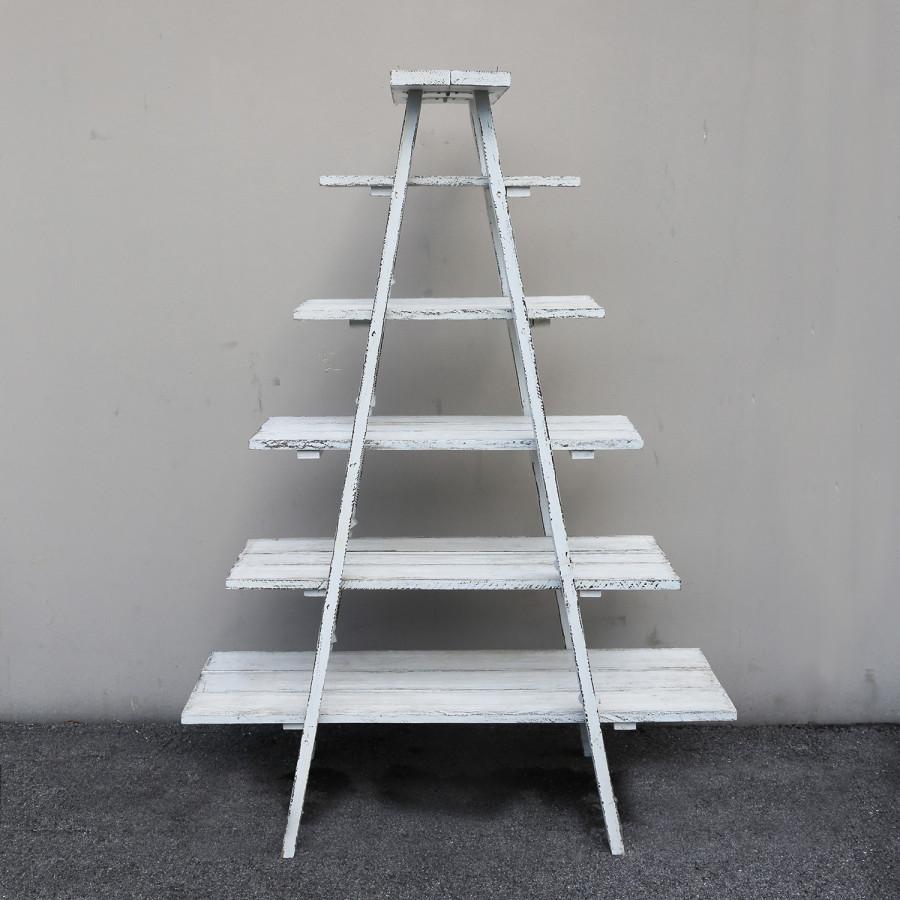 Scala vintage in legno bianco 6 ripiani 130 x 56 h176 cm