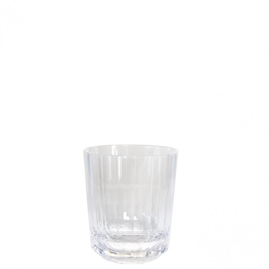 Verre en methacrylate avec lignes verticales d9 h10.5 cm
