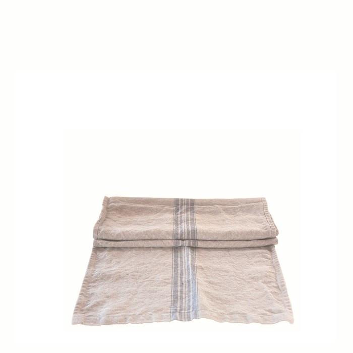 100% natural linen with blue stripes runner 42 x 120 cm