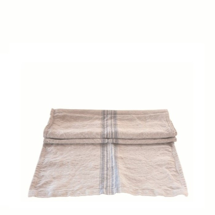 100% natural linen with blue stripes runner 42 x 160 cm