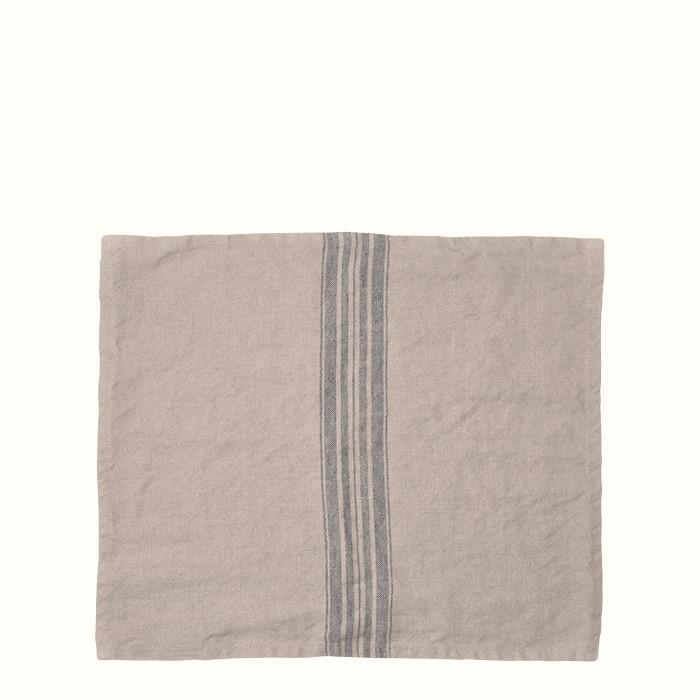 100% natural linen with blue stripes placemat 35 x 43 cm